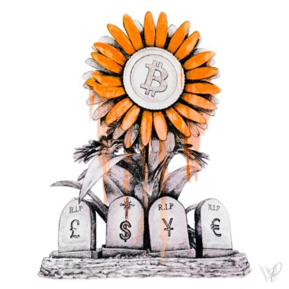 R.I.P. FIAT Bitcoin Sticker